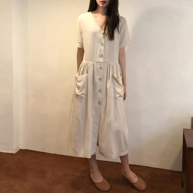 V neck pocket button long dress