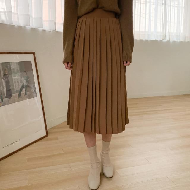 Feminine A-line pleated long skirt