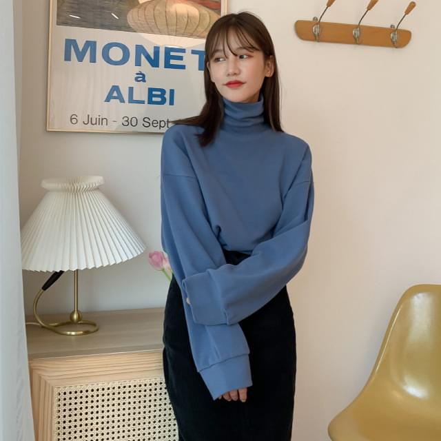 Loose-fit high neck Fleece-lined Sweatshirt