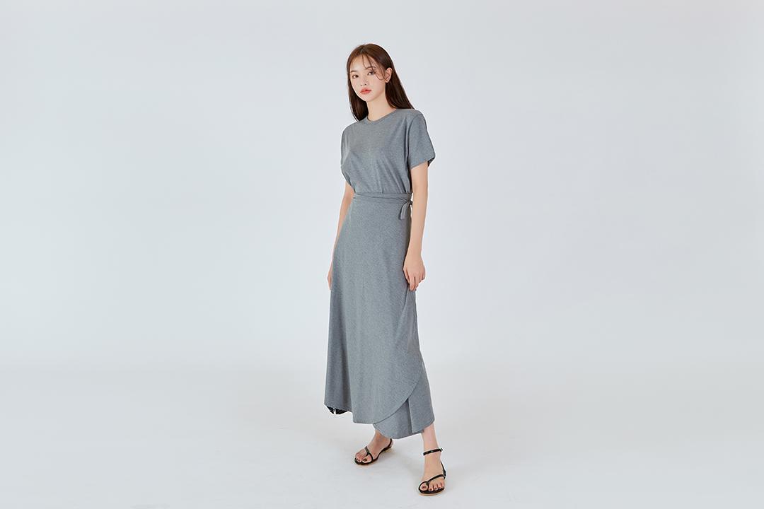 Simple Wrap Skirt-top SET