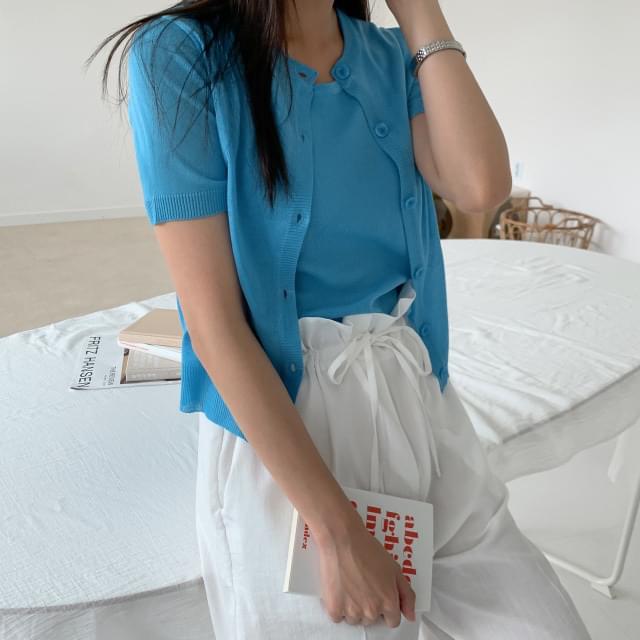 Summer sleeveless short-sleeved cardigan set