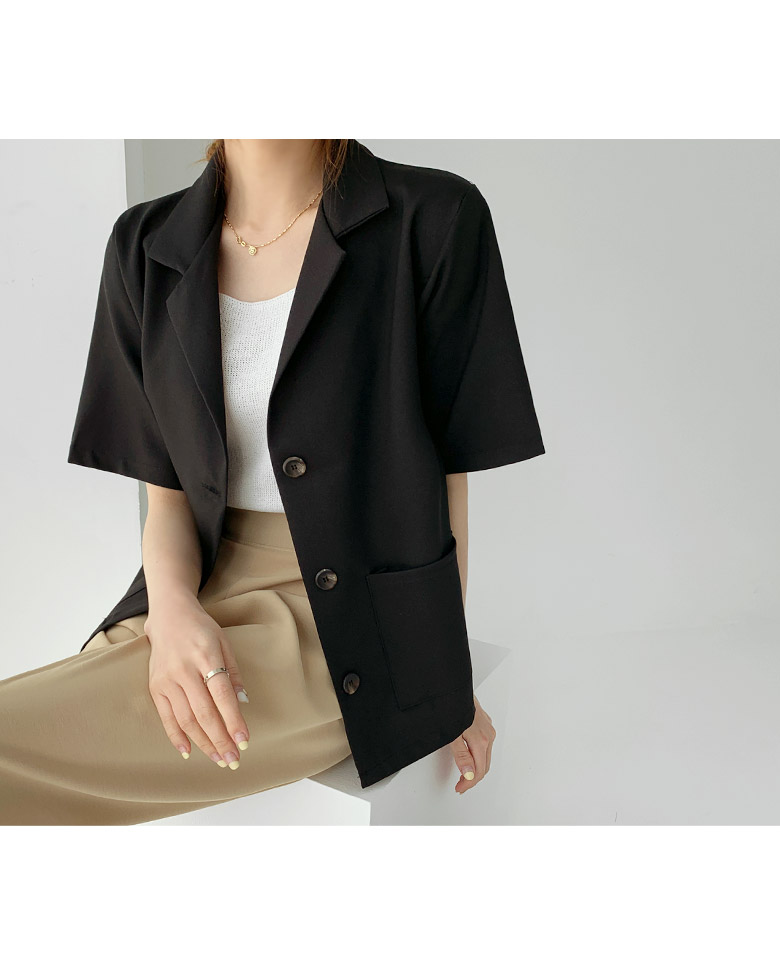 Label basic short sleeve jacket