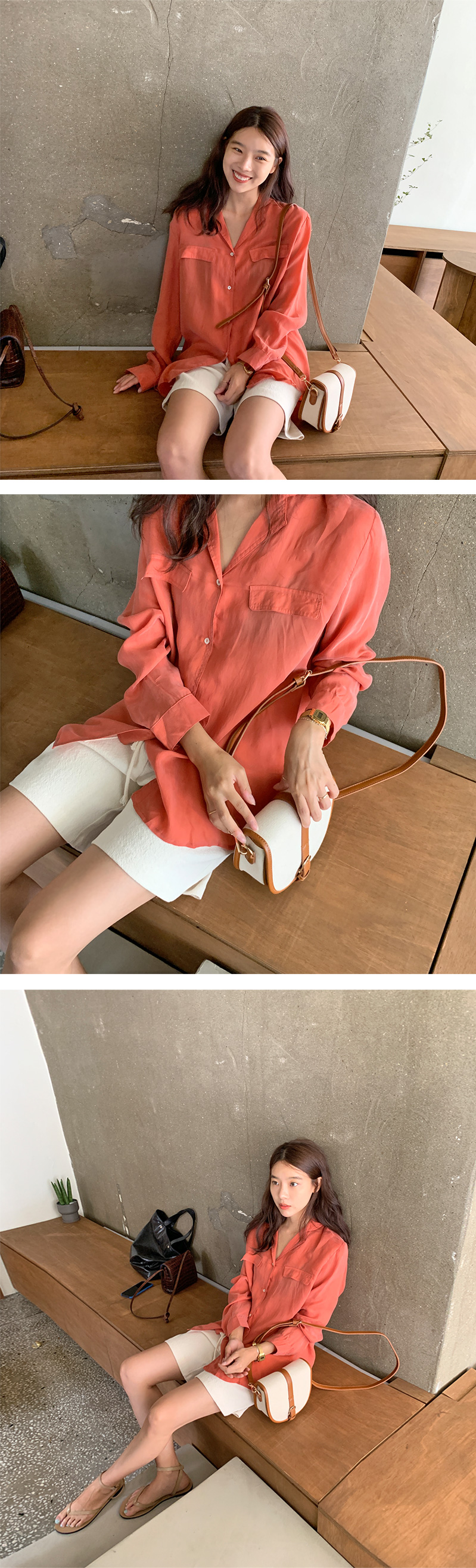 Bright button silky blouse_H