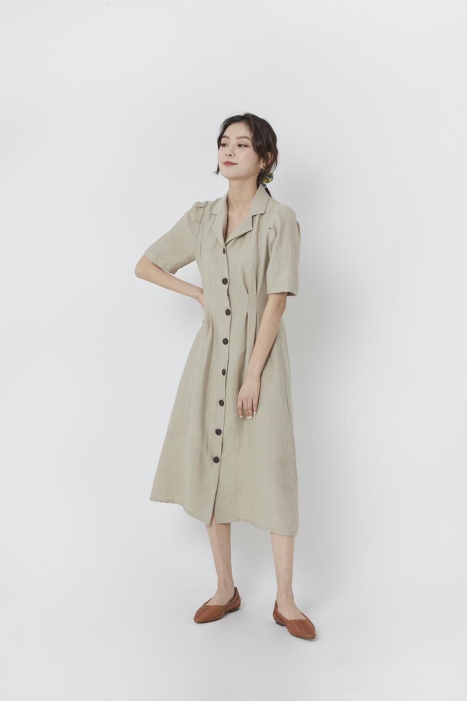 Monet linen short sleeve dress