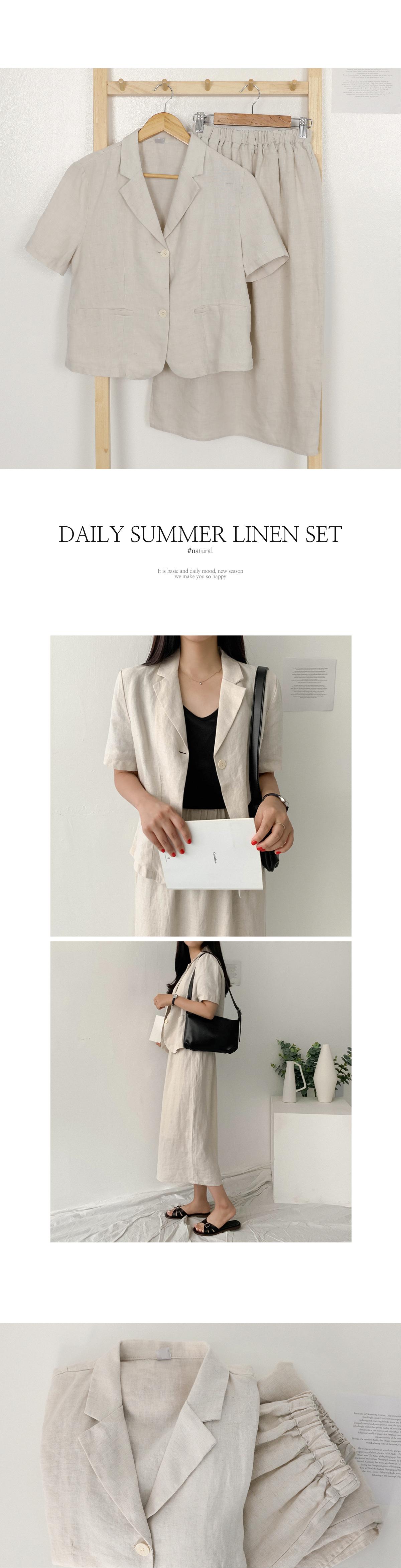 リネンブレンド半袖シングルジャケット×スリットロングスカート