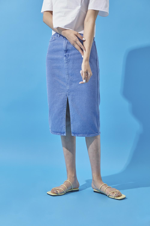 Color cotton skirt