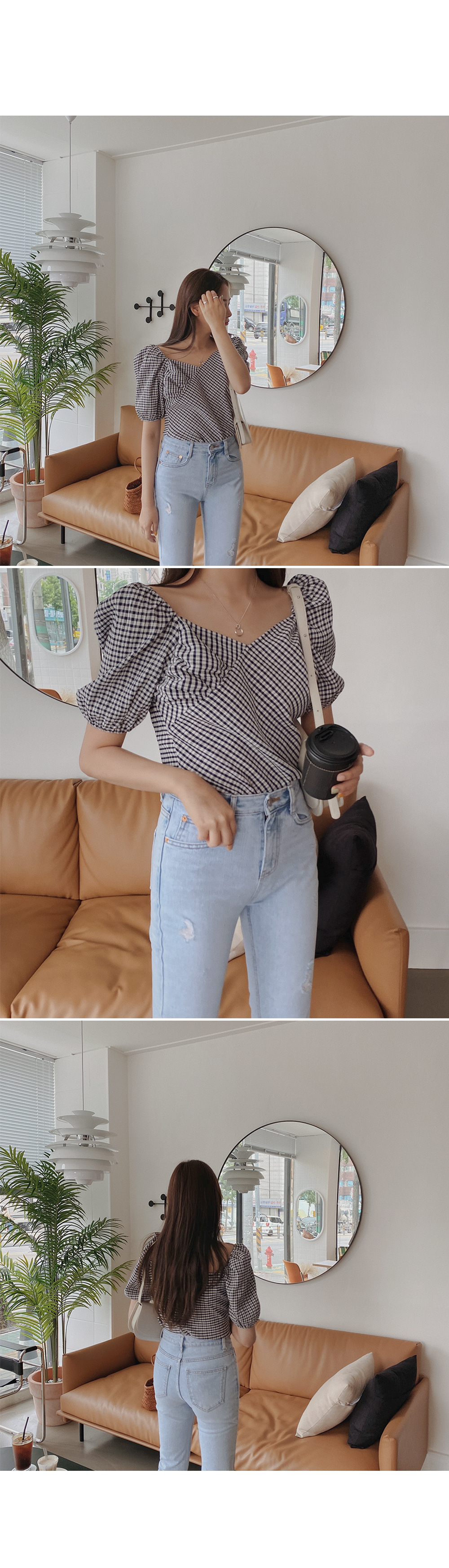 All-in-one check blouse