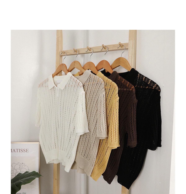 鏤空織紋翻領半開釦針織衫
