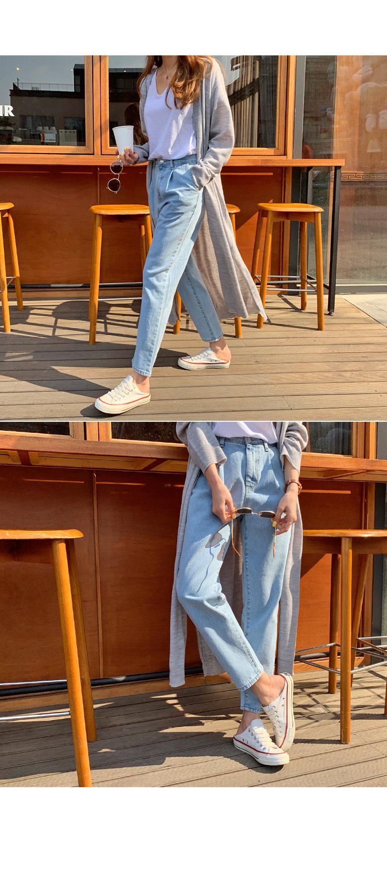 Splint pin tuck denim pants