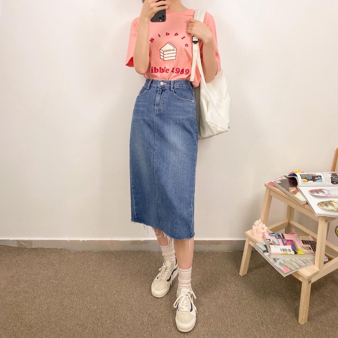 527 long blue skirt