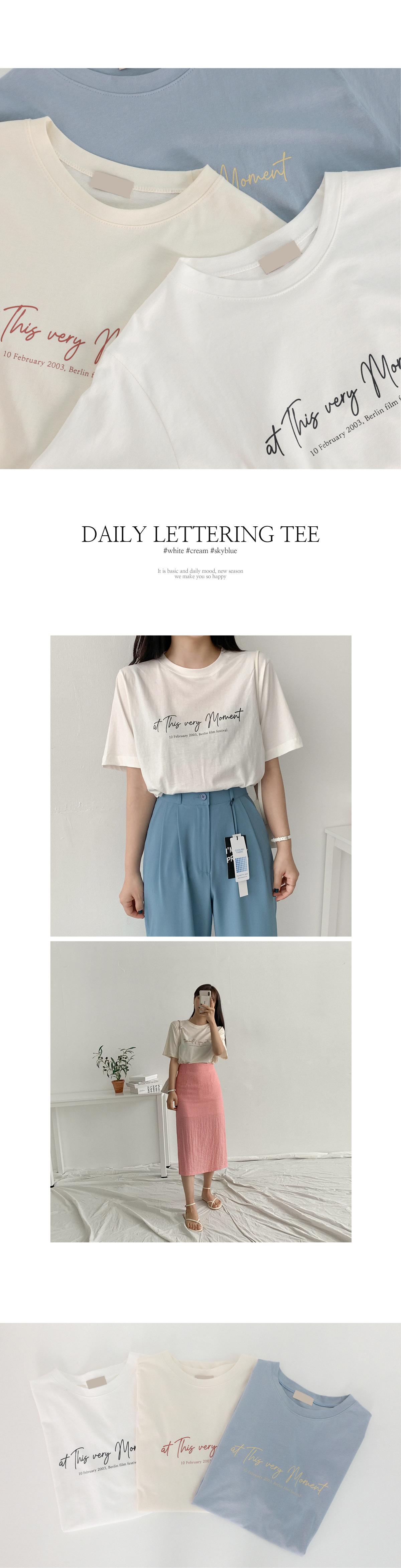 清新手寫印字圓領短袖T恤