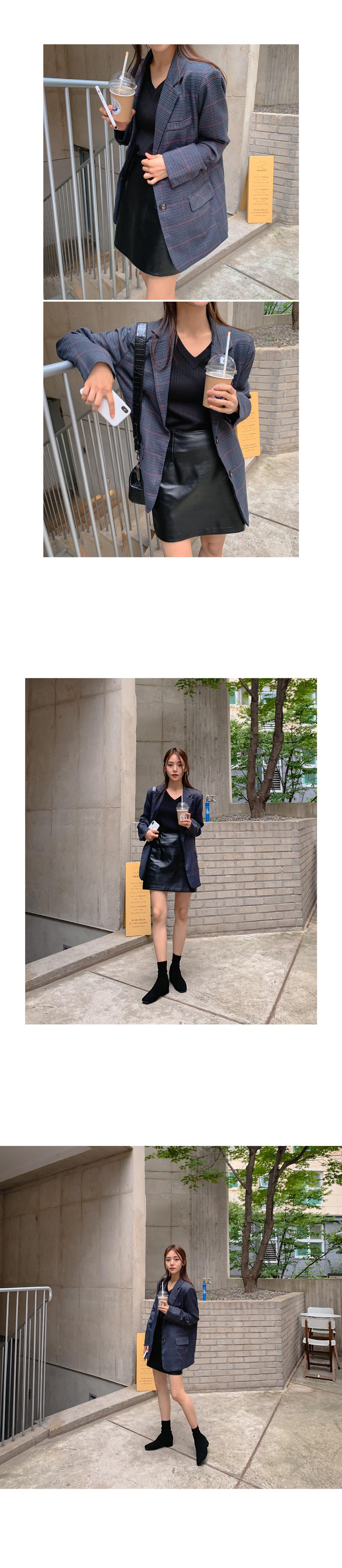 Plum leather skirt _Y
