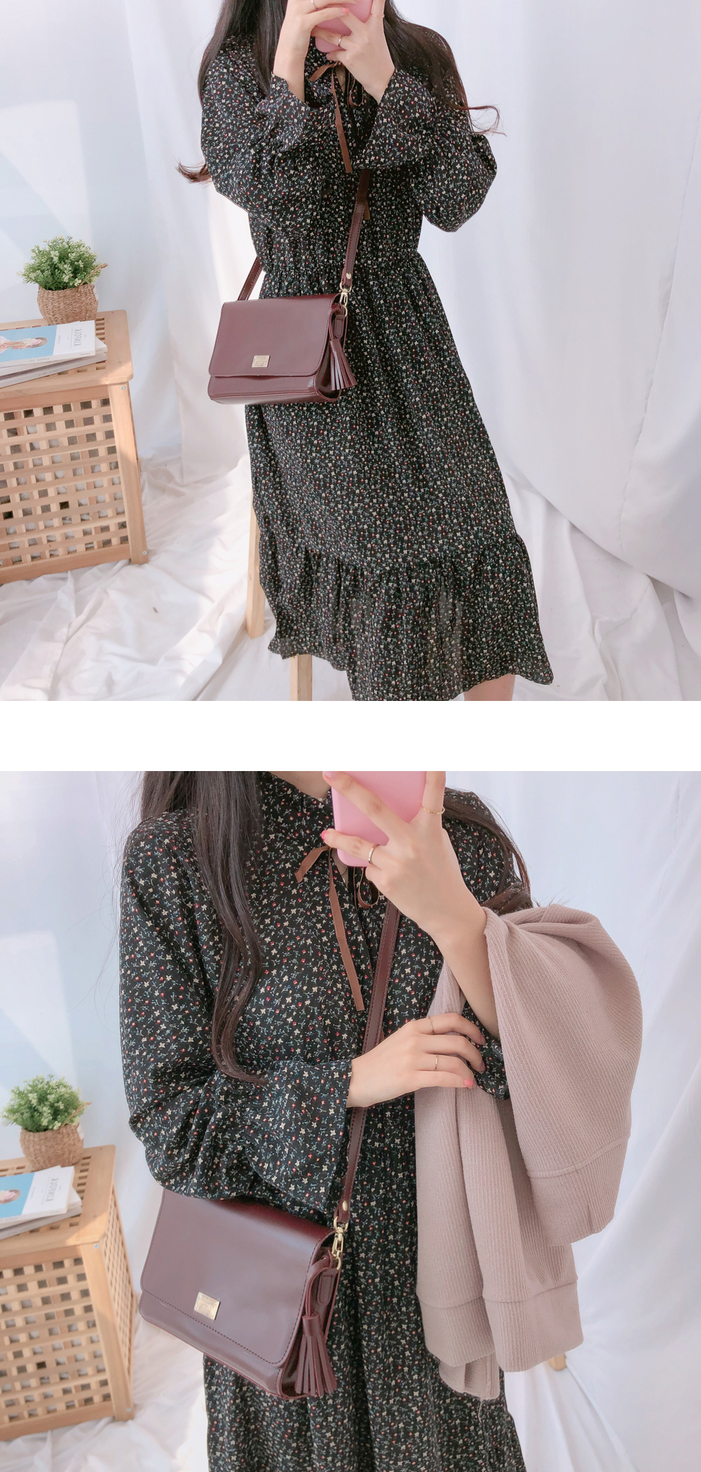 1087 tassel clutch shoulder bag