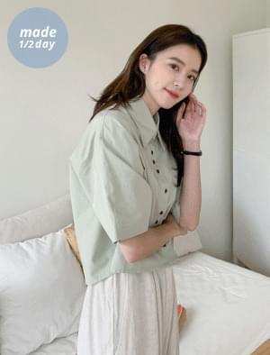 Unique Button Crop Short Sleeve Shirt