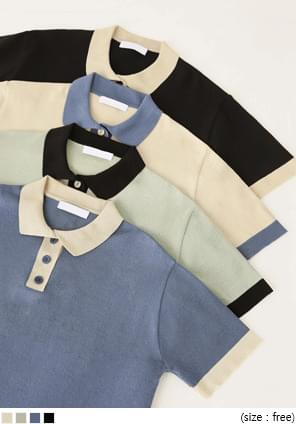 RON COLORING BUTTON COLLAR KNIT OPS