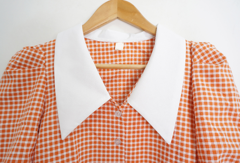 Puff high-end check short-sleeved blouse