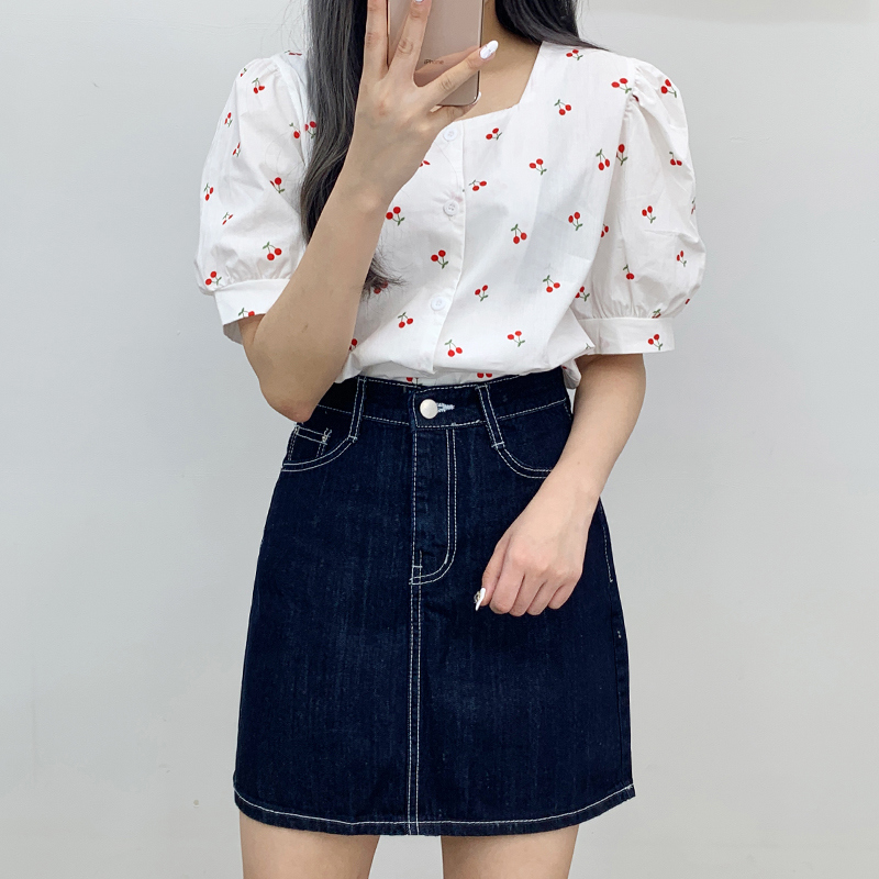 Cherry square blouse
