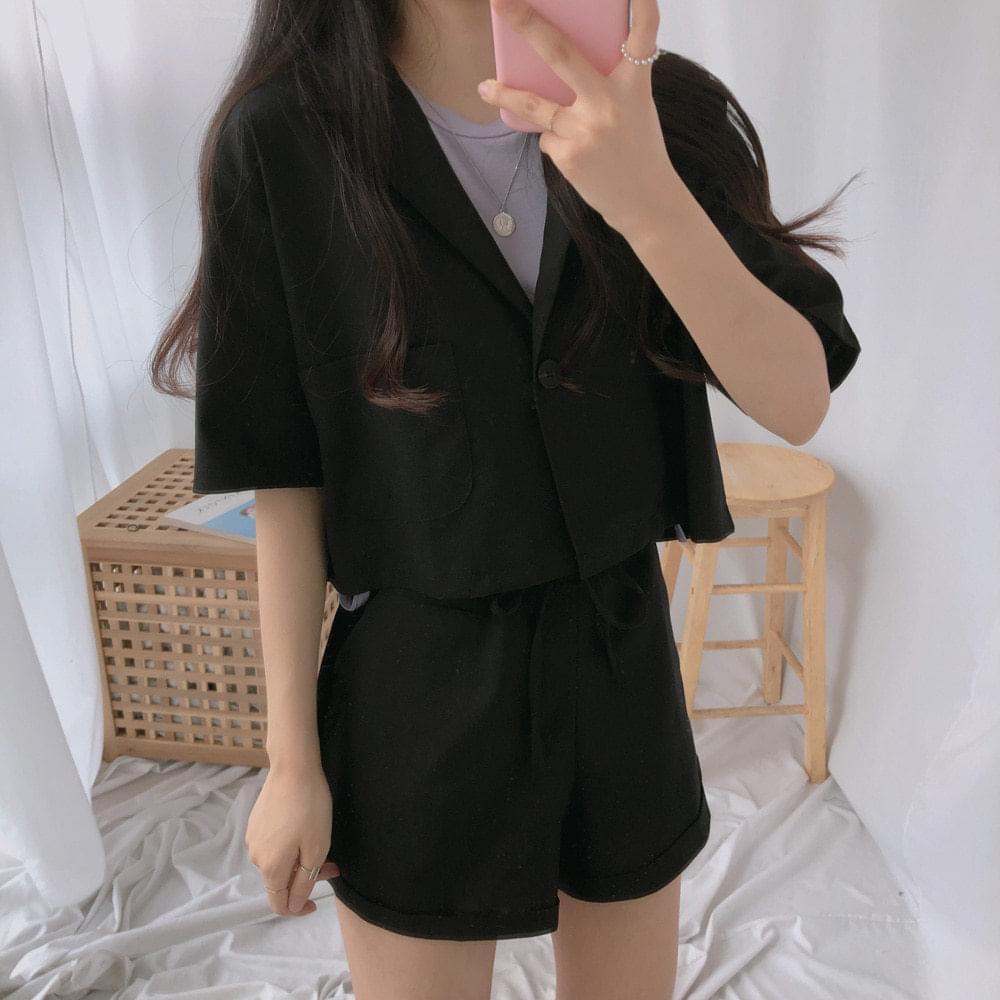 Ramee short-sleeved cropped jacket