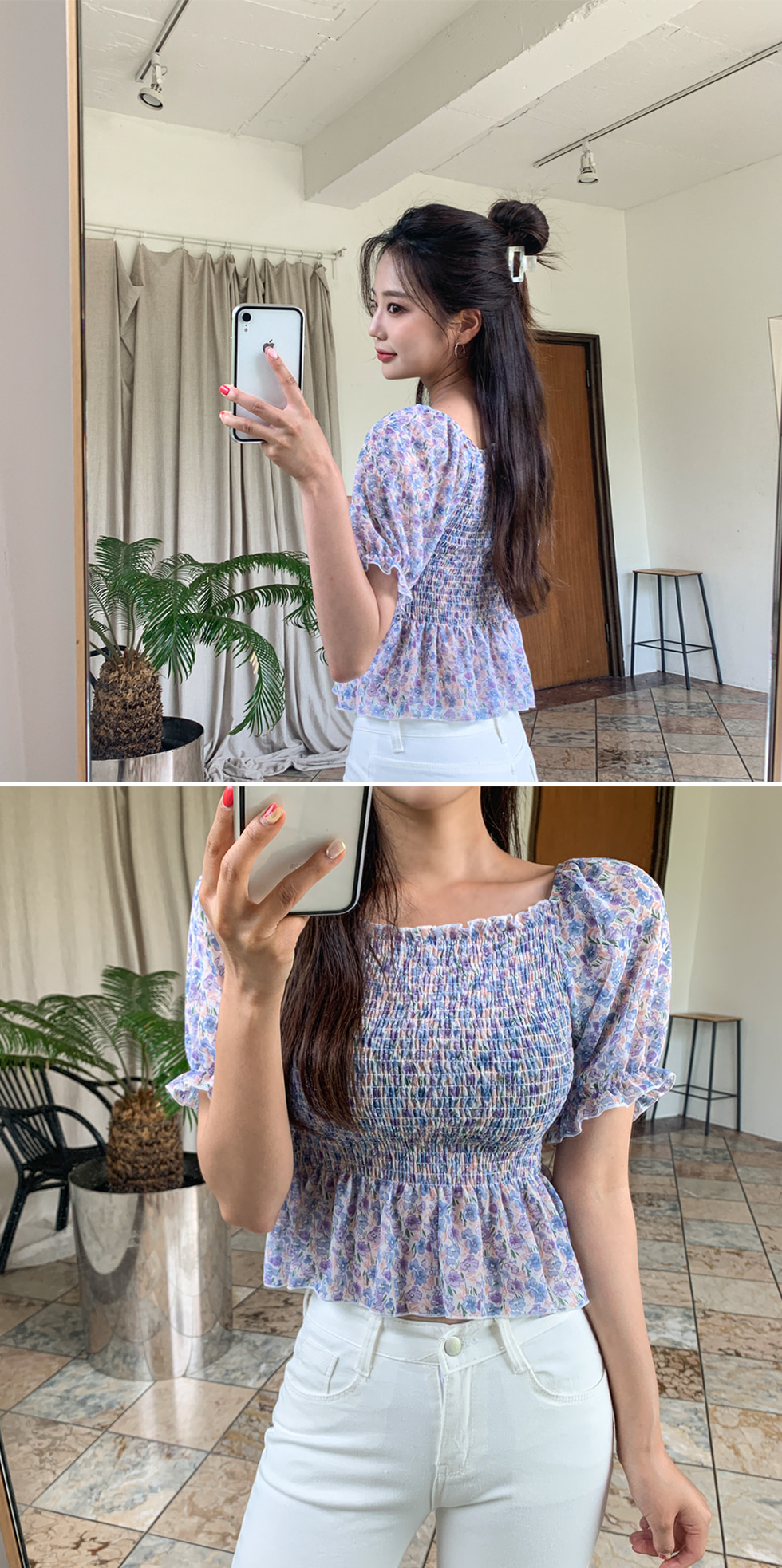 Floral smoke blouse