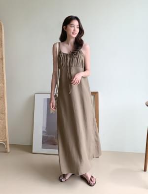 Shirring Bustier Linen Long Dress
