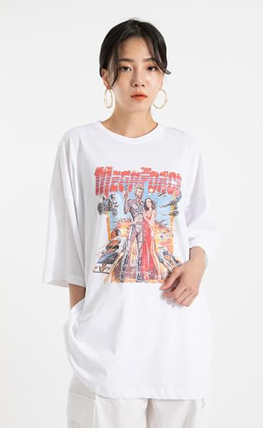 Force over printing round neck T-shirt