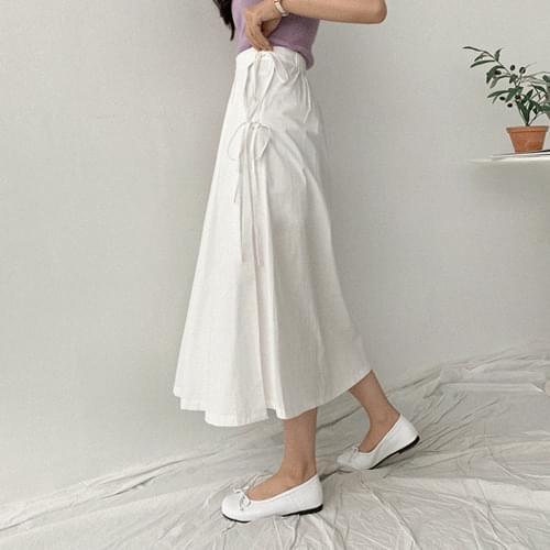 Ribbon pin chin wrinkled skirt skirt