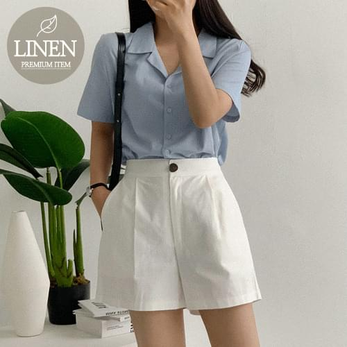 Cornel linen pin chin half pants