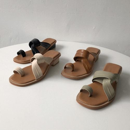 韓國空運 - 穿插造型橫帶套趾方頭拖鞋 涼鞋