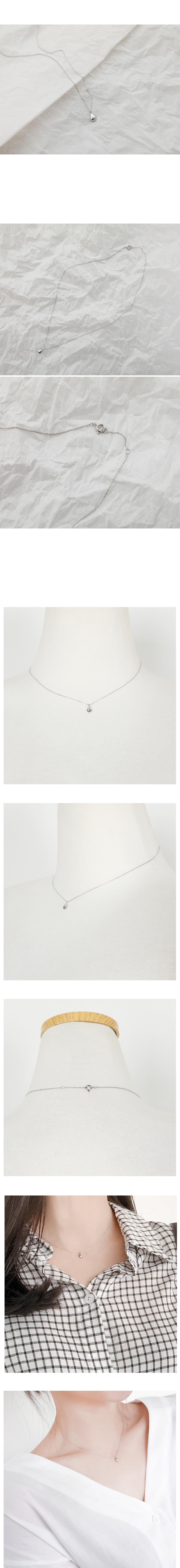 光澤水滴狀綴飾純銀項鍊