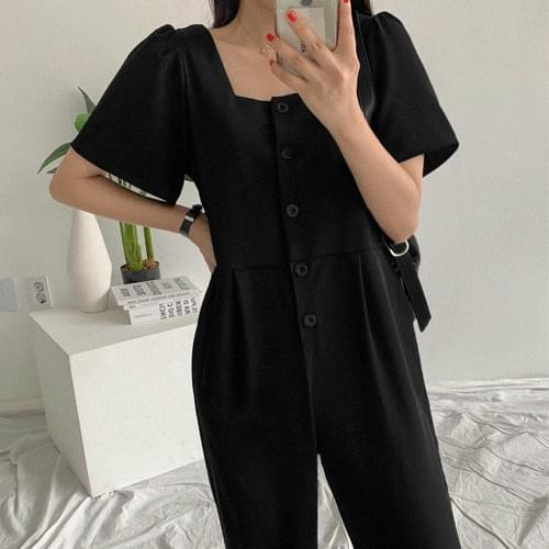 Shirring Wide Jumpsuit