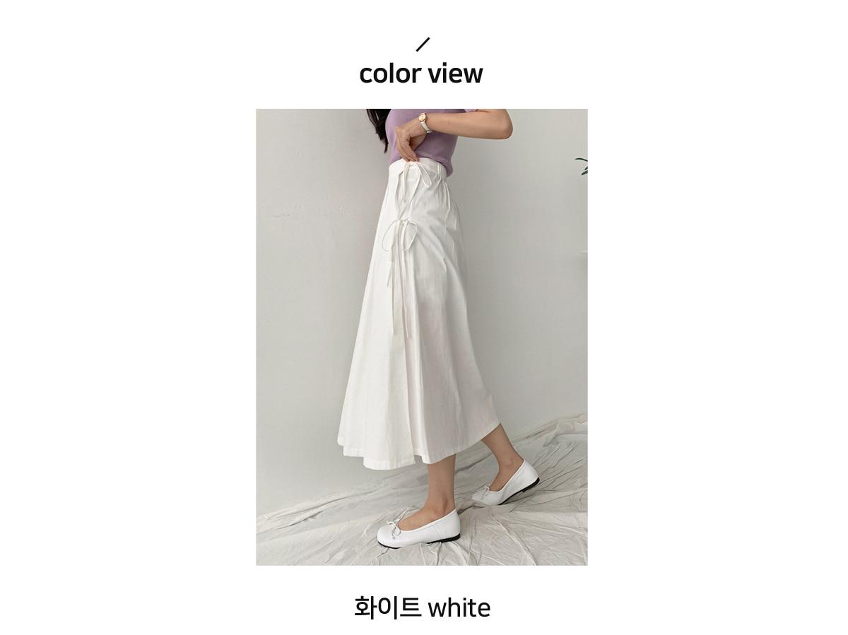 Ribbon pin chin wrinkled skirt
