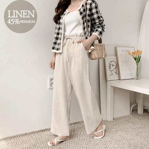 Wide pants with nuts linen