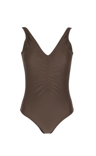 Simple shirring one piece swimsuit