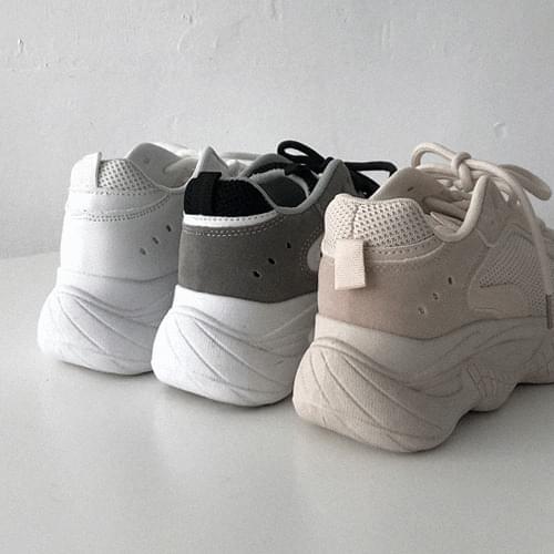 層次網狀拼接綁帶老爹鞋