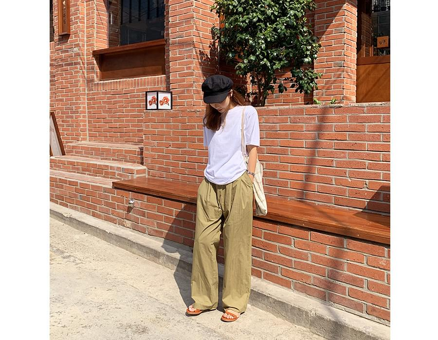 Strap wide pin-tuck pants_N