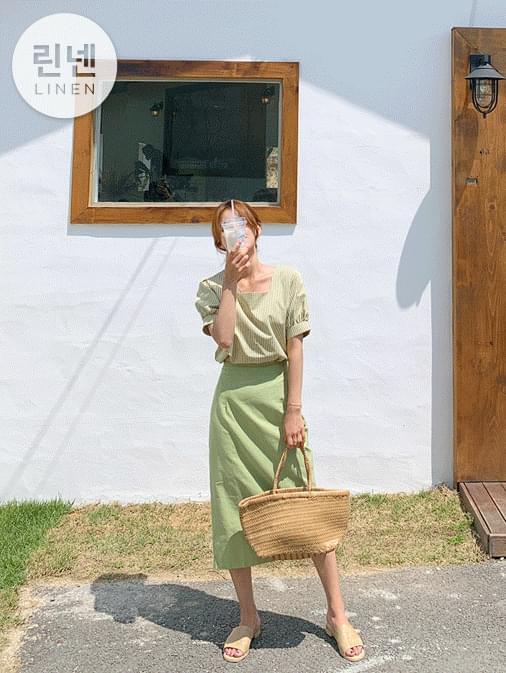 Cami color linen banding long skirt