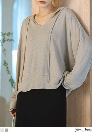 韓國空運 - 混亞麻寬鬆版V領連帽T恤 長袖上衣