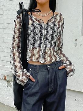 See-through mardol zipper cardigan