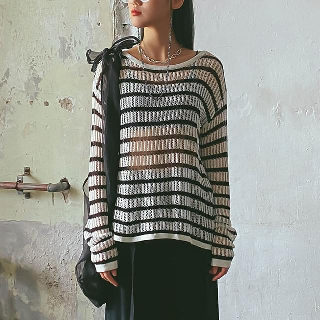Striped sheer knit