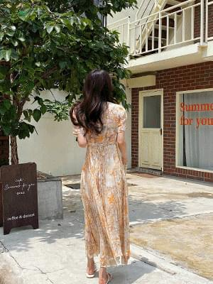 Peach pleated chiffon dress