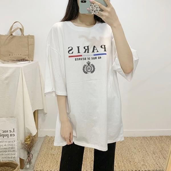 파리스 레터링 라운드넥 반팔 티셔츠