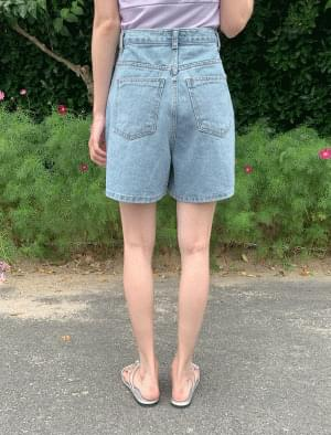 High waist incised denim short pants