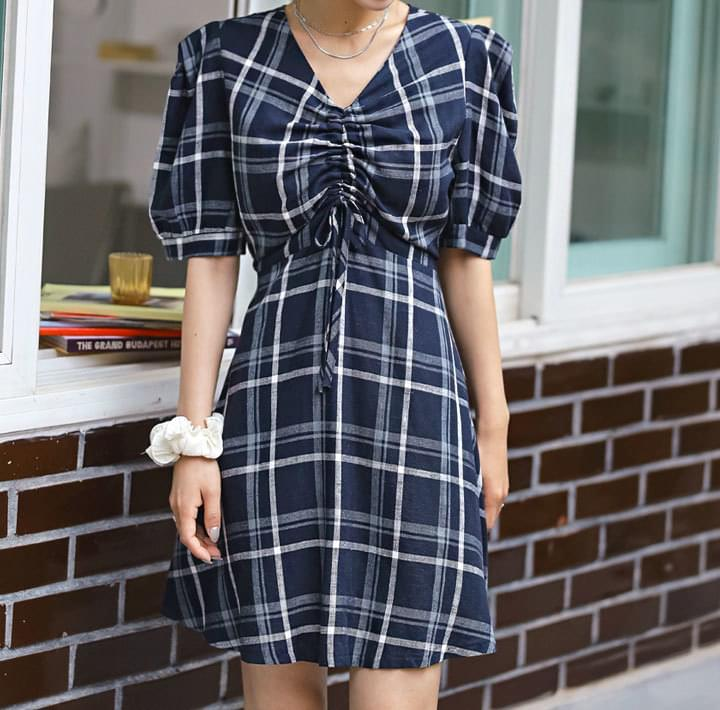 LINEN CHECK STRING PUFF MINI OPS