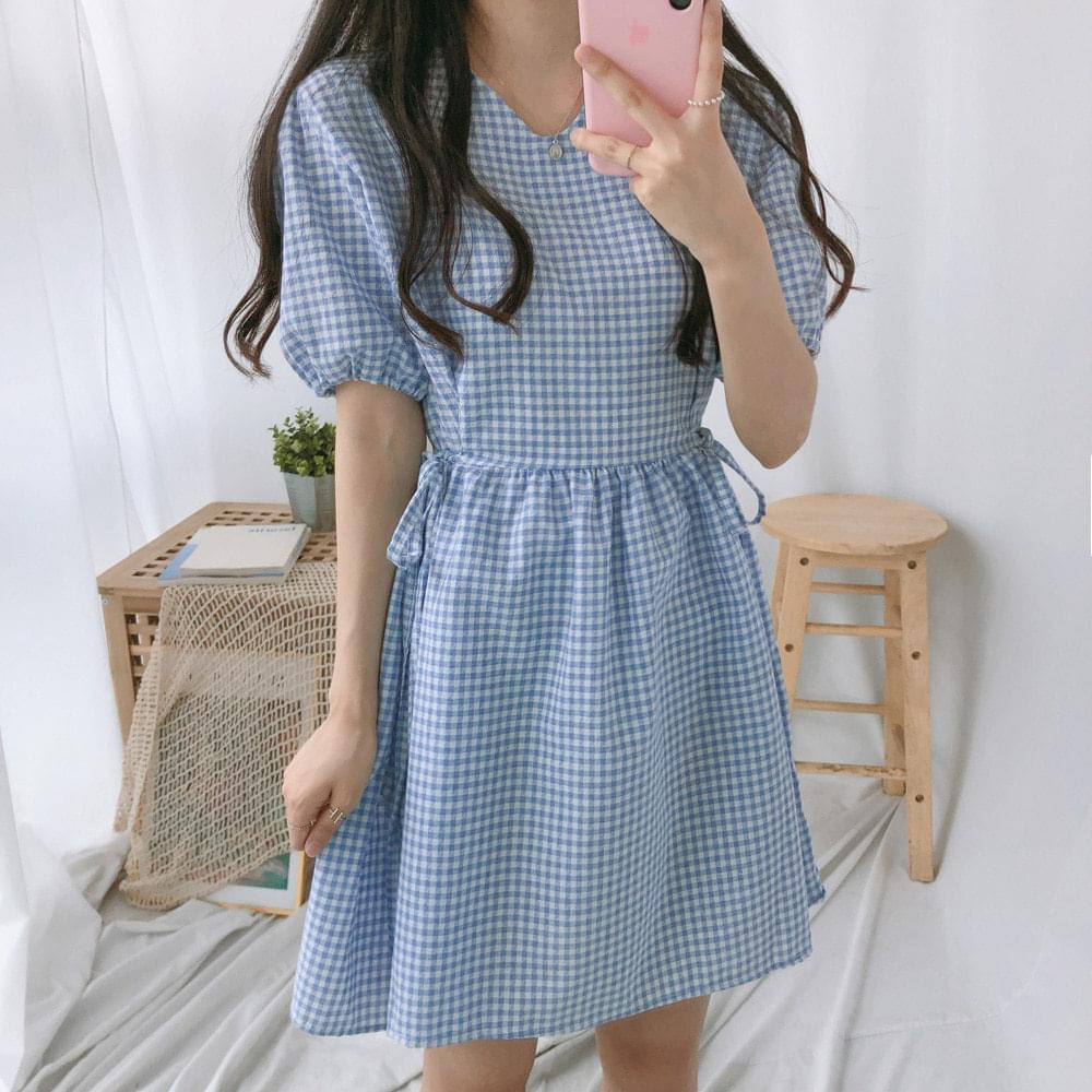 Check Thong Ribbon Mini Dress