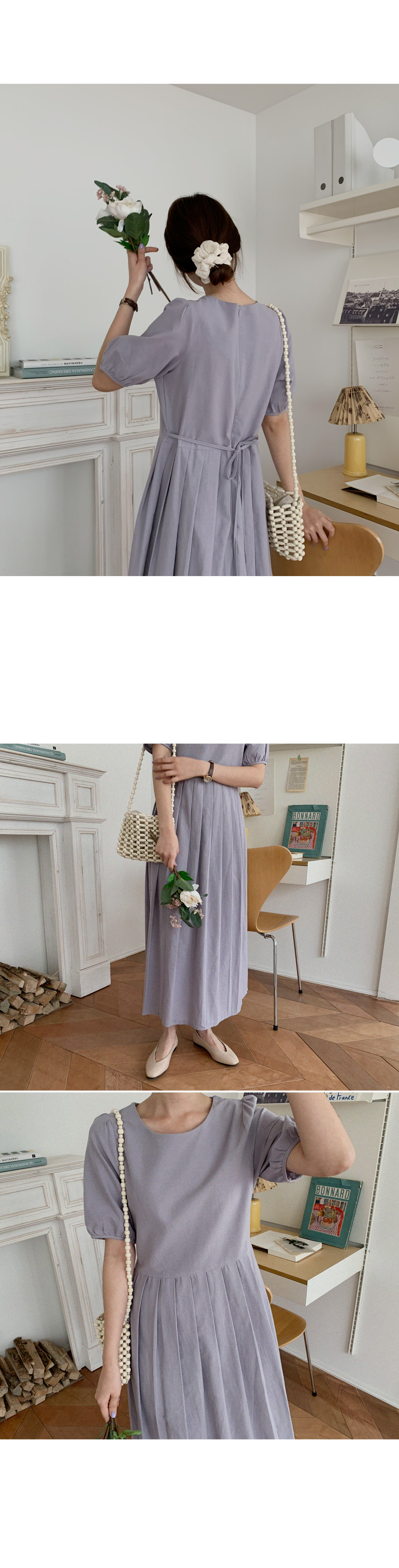 Marie linen pleated long dress