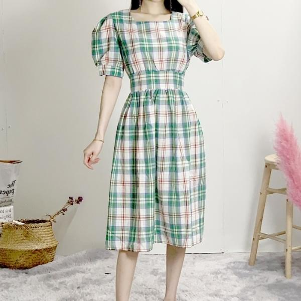 Square Check Long Dress