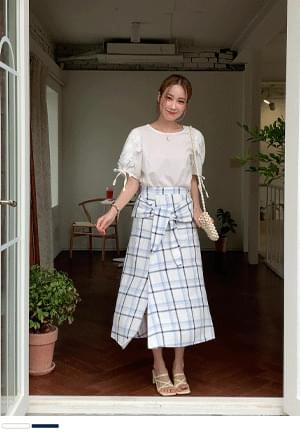 Summer Sky Strap Check Linen Skirt