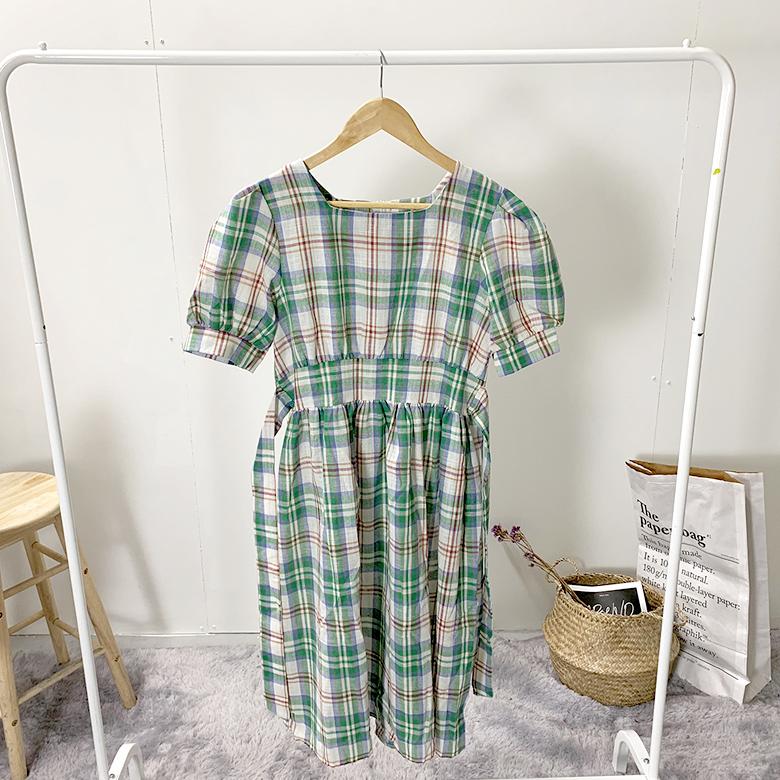Square Check Long Dress