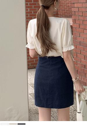 Simple linen mini skirt