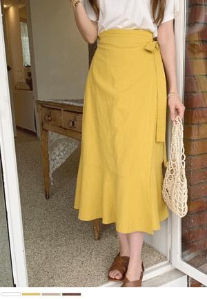 Linen wrap ruffle long skirt